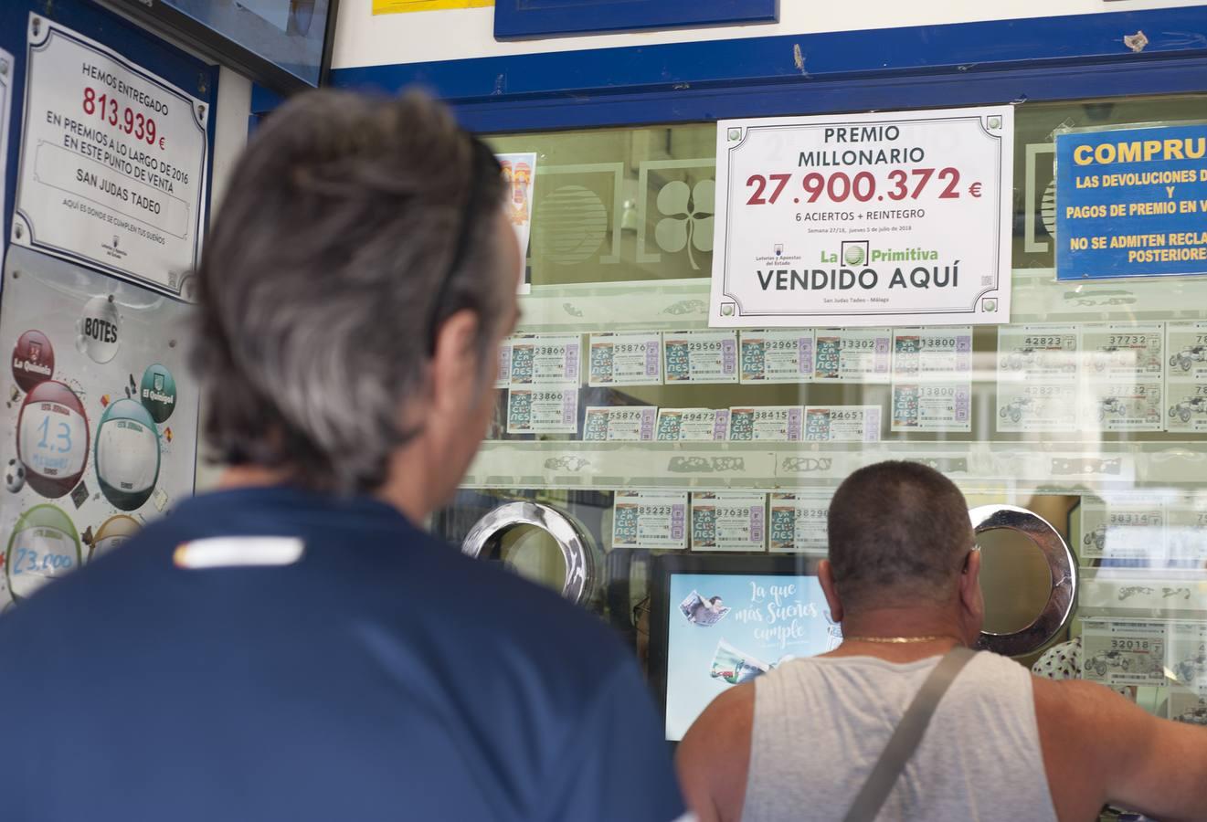 Dos administraciones de Málaga y Marbella reparten 27 millones en la Primitiva