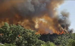 Vídeo | Así es el fuego que asola el paraje Venta La Victoria en Casares