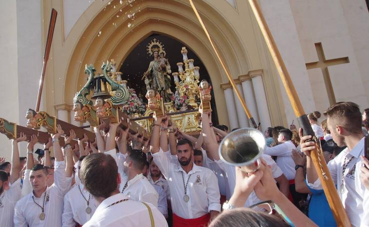 Domingo intenso con tres procesiones de la Virgen del Carmen en Málaga