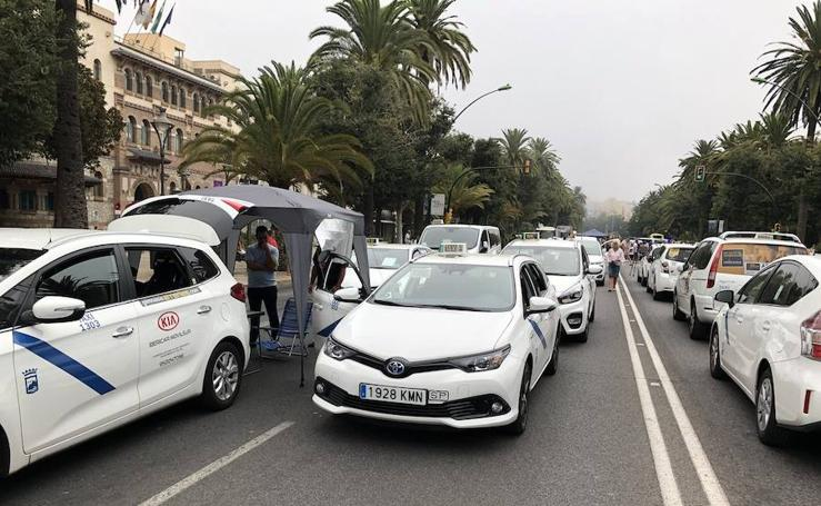 Así ha transcurrido la marcha de los taxistas de Málaga hacia el Ayuntamiento