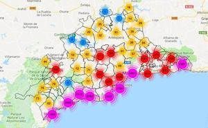 Mapa del alquiler de viviendas turísticas en Málaga