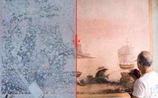 El asombroso antes y después tras la restauración de unas pinturas murales en un futuro hotel en la calle Álamos