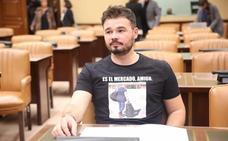 Rufián compara el «procés» y La Manada: «25 años por votar y 9 por violar»