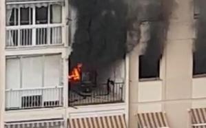 Incendio en un cuarto piso en la calle Unión