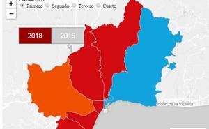 Mapa interactivo de los resultados de las elecciones andaluzas en los distritos de Málaga