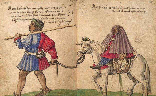 'Moriscos del reino de Granada, dando un paseo por el campo con mujeres y niños', un dibujo de Christoph Weiditz de 1529