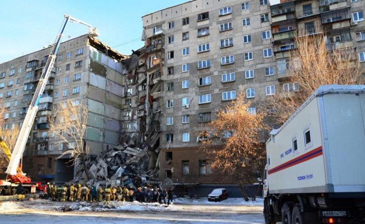 Las imágenes del derrumbamiento de un edificio en Rusia