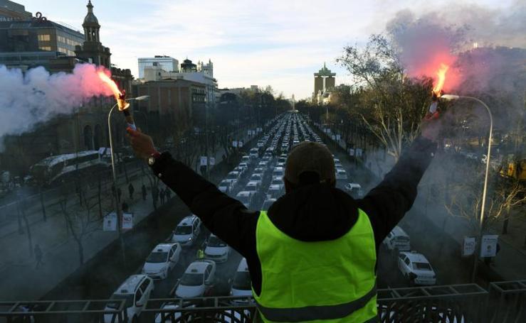 Así ha sido el séptimo día de huelga de taxistas en Madrid