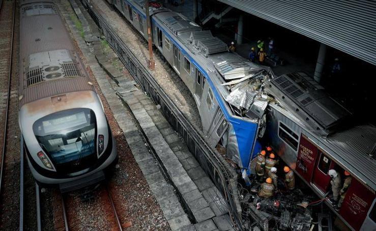 Las imágenes de un choque de trenes en Río de Janeiro