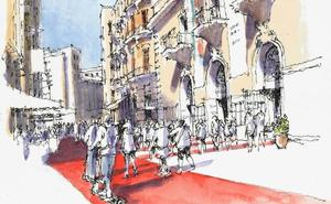 Málaga a trazos: Marzo en Alcazabilla