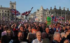 Miles de partidarios del 'brexit' protestan frente al Parlamento británico