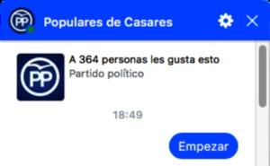 El PP de Casares utiliza la aplicación del 'Chatbot' para hacer llegar a los vecinos su programa electoral