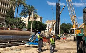 Última fase de pantallas en la obra del metro de Málaga entre Renfe y Guadalmedina