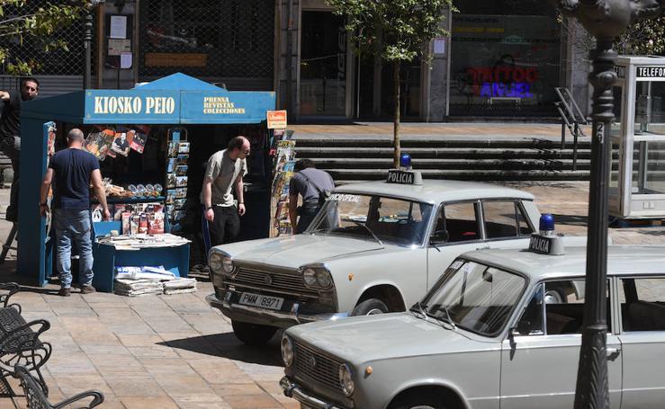 Rodaje de la serie 'La línea invisible' en el Casco Viejo de Bilbao