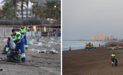 Así amanecen las playas de Málaga tras la celebración de la noche de San Juan