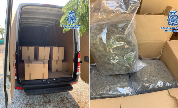 Cuatro detenidos en Málaga cuando cargaban en una furgoneta casi 200 kilos de marihuana
