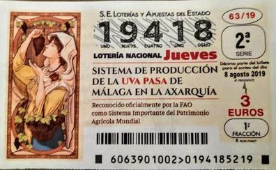 La uva pasa moscatel de la Axarquía, protagonista del sorteo de la Lotería Nacional