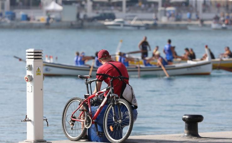 Las jábegas toman el Puerto de Málaga