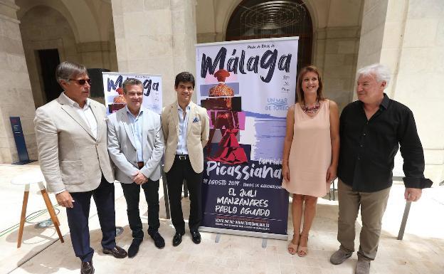 Escribano, González, Aguado, Casero y Pallatier, de izquierda a derecha, en el Museo de Málaga./Salvador Salas