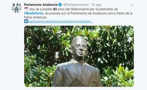 Un tuit del Parlamento sobre Blas Infante enciende la polémica entre los grupos