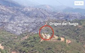 El punto de origen del incendio de Estepona