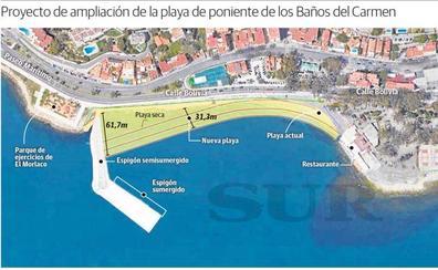 La nueva playa de los Baños del Carmen tendrá hasta 50 metros de ancho