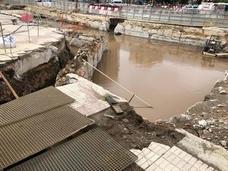 La tromba de agua inunda las obras del metro de Málaga