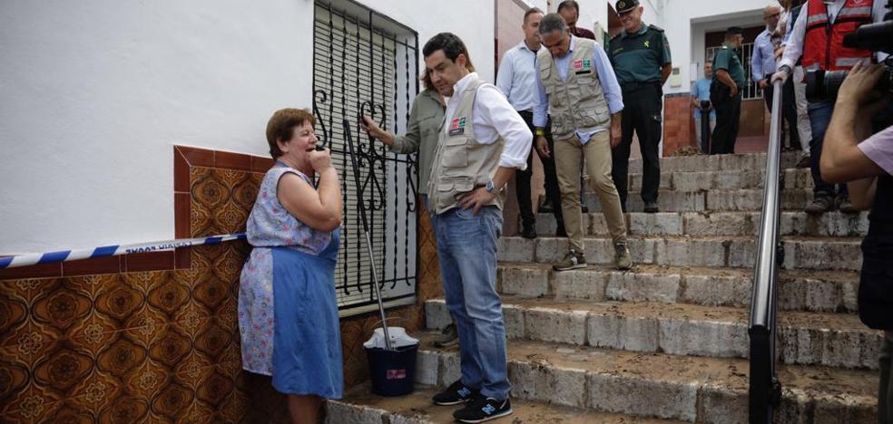 Juanma Moreno, en Alhaurín el Grande: «El primer plan de ayuda por las inundaciones se aprobará el martes»
