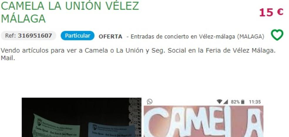 They sell free invitations for concerts at the Vélez-Málaga fair online