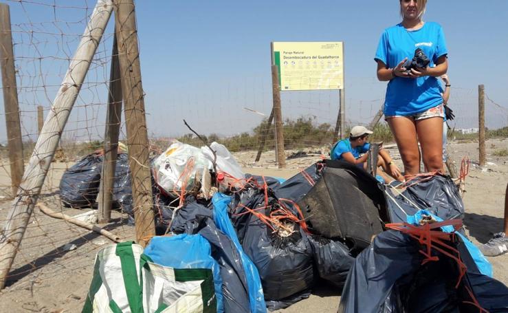 Medio centenar de personas recogen 290 kilos de basura en la desembocadura del río Guadalhorce