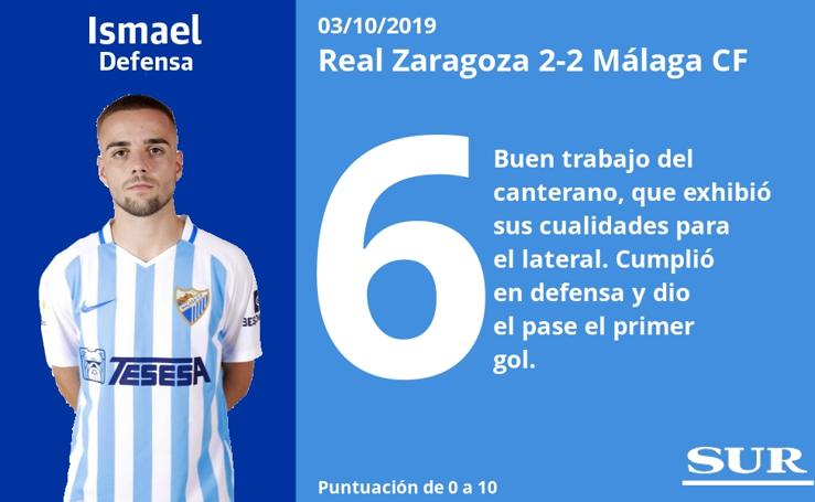 El uno a uno del Zaragoza 2-2 Málaga