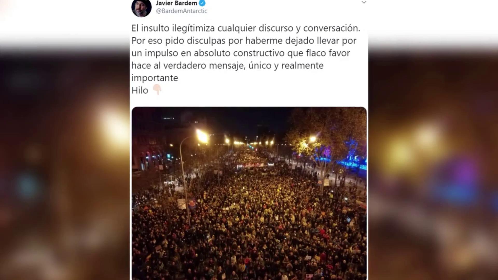 """Javier Bardem pide disculpas por llamar """"estúpido"""" a Almeida"""