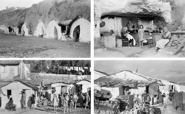 1949. De izquierda a derecha: viviendas-cueva en El Ejido; chabolas en la plaza de Santa María y playas de San Andrés (abajo).