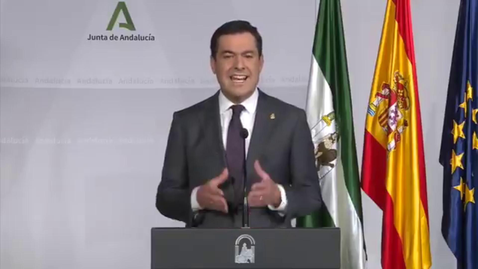Juanma Moreno pide prudencia y limitar el contacto social  tras anunciar las nuevas restricciones en Andalucía