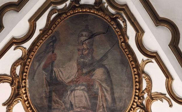 Detalle del deterioro de una de las pinturas.