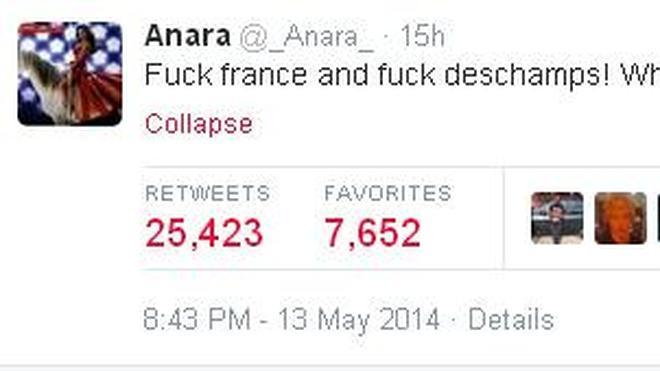 La novia de Nasri: «Que jodan a Francia, que jodan a Deschamps»