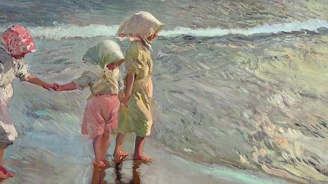 Sale a subasta 'Las tres hermanas en la playa' de Sorolla