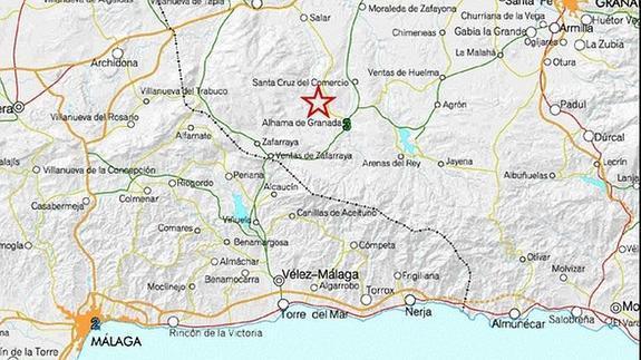 Mapa Alhama De Granada.Un Seismo De 3 2 Grados Con Epicentro En Alhama De Granada Se Deja Sentir En Velez Y Canillas De Aceituno Diario Sur