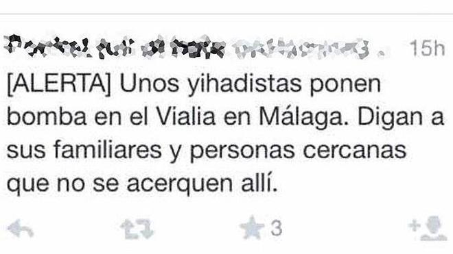 Detenido un menor por crear alarma en redes sociales con una falsa alerta de atentado en Málaga