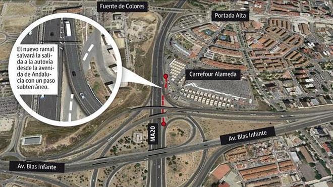 Carrefour se ofrece a cofinanciar el nuevo acceso a Teatinos desde la autovía
