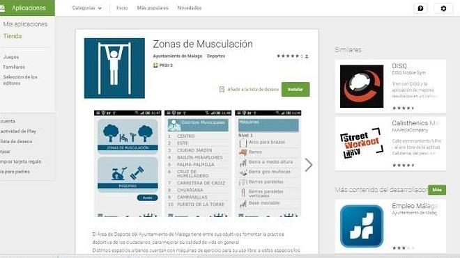 Una app móvil ofrece información sobre las zonas de ejercicio al aire libre de Málaga