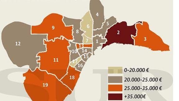 Mapa De Malaga Capital Por Barrios.La Riqueza Va Por Barrios En Malaga La Zona Mas Pudiente