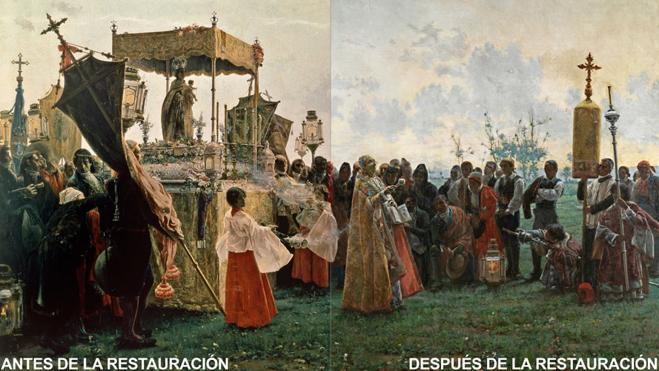El gran cuadro de la Aduana, antes y después de su restauración