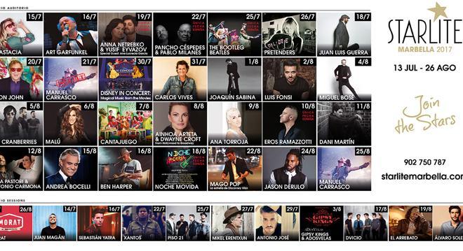 Todas las fechas de los conciertos del Starlite Marbella 2017